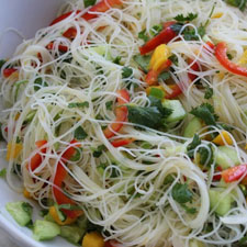 Cucumber and Mango Sunomono Salad with Rice Noodles