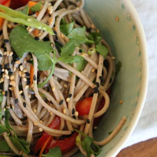 Cold Soba Noodle Salad with Miso Dressing (video)