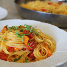Linguine with Vine Ripened Cherry Tomatoes and Basil