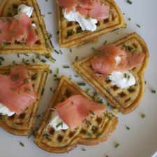 Pasilla Corn Waffles with Smoked Salmon ©2014 The Conscious Kitchen